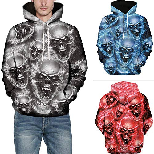 SMALLE ◕‿◕ Clearance,Mens 3D Printed Skull Pullover Long Sleeve Hooded Sweatshirt Tops Blouse by SMALLE (Image #5)