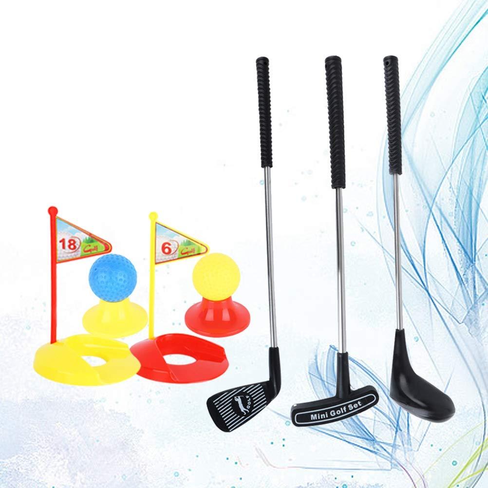 TOYANDONA Set de Golf para Niños con Bola y Palo de Metal Juego Exterior Educación Temprana 12 Unidades