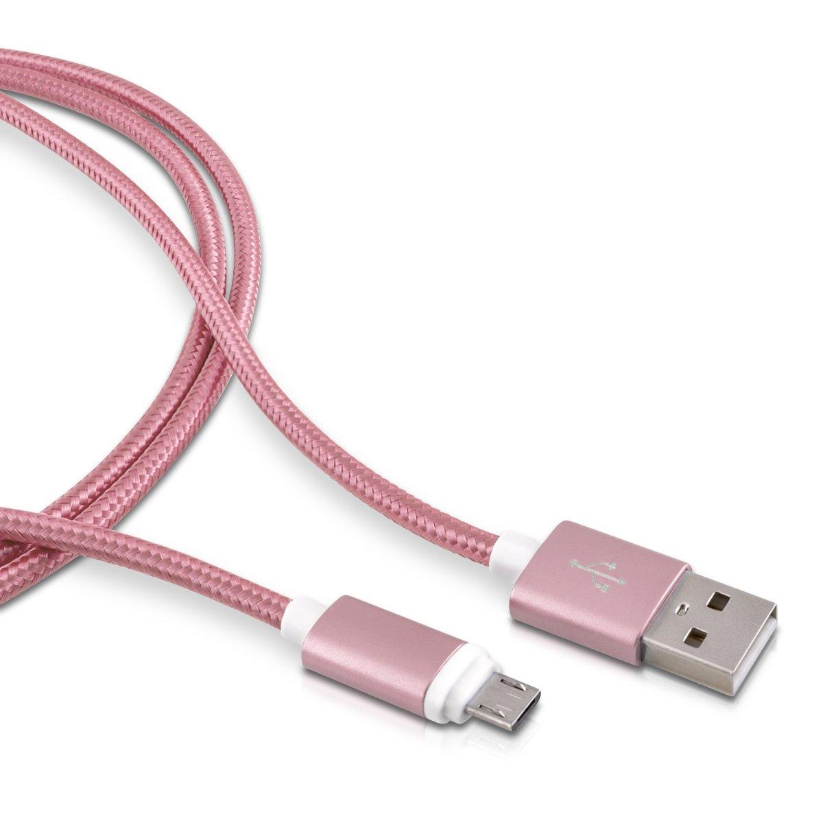 kwmobile Cable microUSB de Nylon - Cable de Carga rápida Micro USB para móvil Tablet - Cable Cargador para Samsung Sony Huawei etc en Rosado de 2 M
