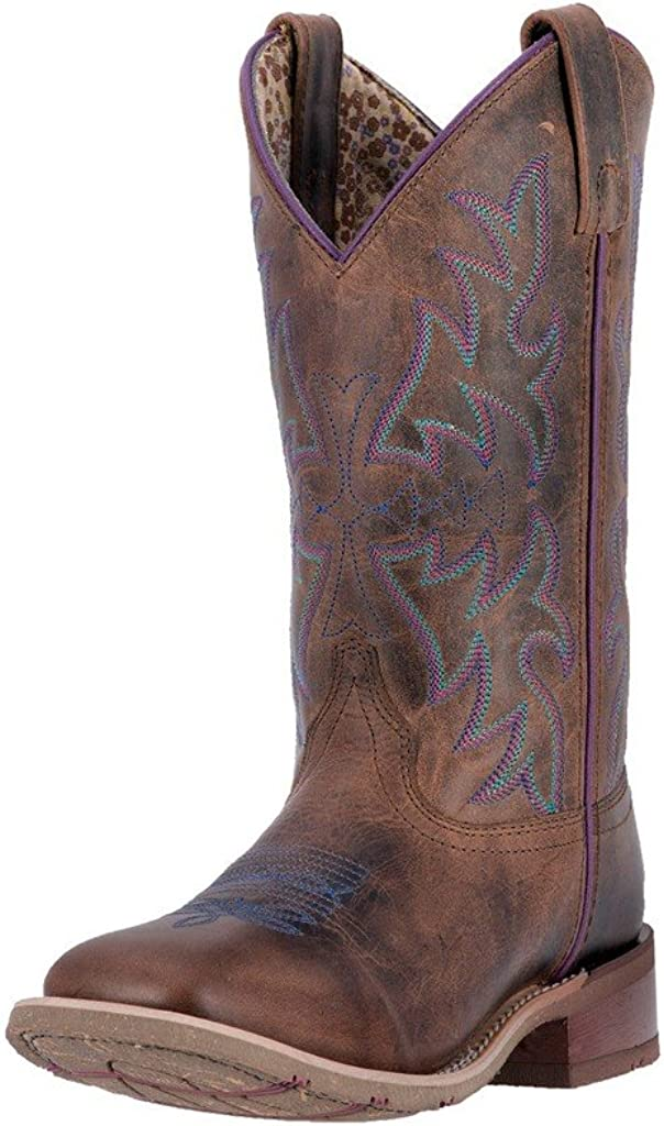 Laredo Ladies Ellery Rust Embroidered Square Toe Western Boots 5654