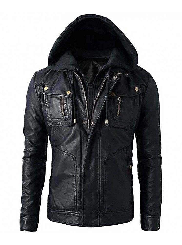 Icon Pro Mens Motorcycle Brando Style Biker Real Leather Hoodie Jacket Detach Hood Mens Black Jacket