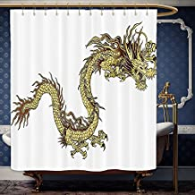 Wanranhome Custom-made shower curtain Dragon Decor Fire Dragon Zodiac With Large Claws Symbol Of Power Chinese Astrology Theme Mythology Golden White For Bathroom Decoration 69 x 75 inches