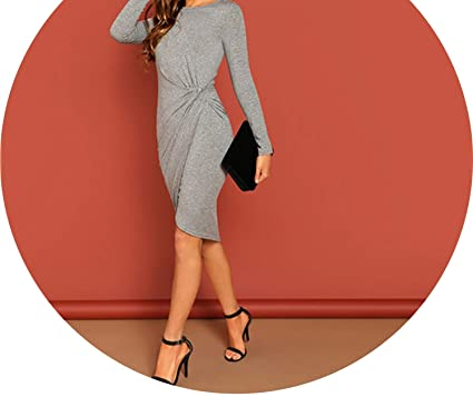 79eceb2c635 Elegant Dress Women Long Sleeve Slim Fit Knee Length Office Dresses ...