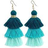 Ayan Creation Handmade 3 Layer Thread Dark Blue , Blue And Sky Blue Tassel Earring For Women ( Combo )