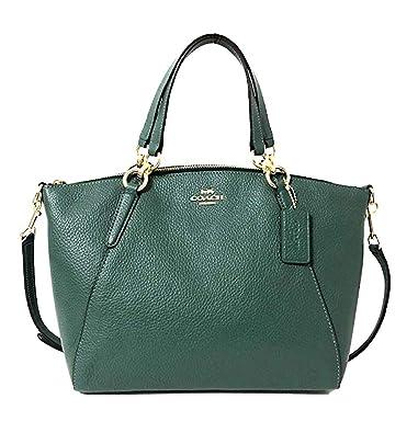 Coach Pebble Leather Mini Kelsey Satchel Crossbody Handbag (Dark Tuquoise) 6f3fcded64