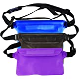 MyLifeUNIT Waterproof Pouch Set for Snorkeling, Adjustable Dry Pouch with Waist Strap for Swimming Boating (Pack of 3)