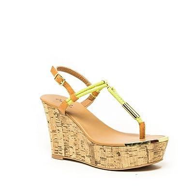 25a9eeef6fd Amazon.com | Qupid Cyprus-04 Women's Wedge Platform Thong Sandals ...