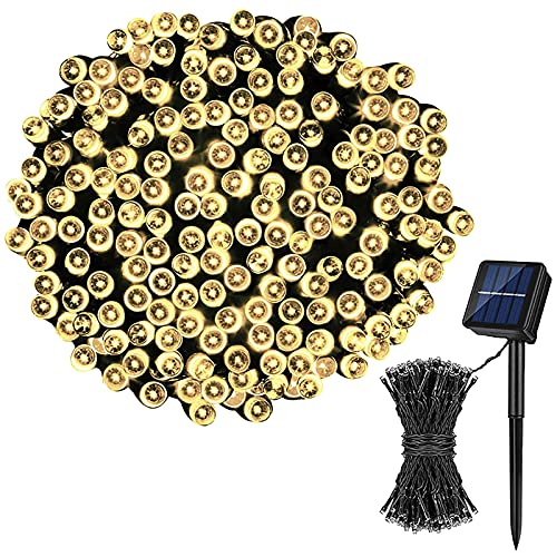 Leyerer 8 Types of Solar Atmosphere LED Solar Fairy Lights, 50/100/200 LEDs Waterproof Decorative Copper Solar String Lights Outdoor for Party, Patio, Garden, Gate, Yard, Wedding, Christmas(50 PCS)
