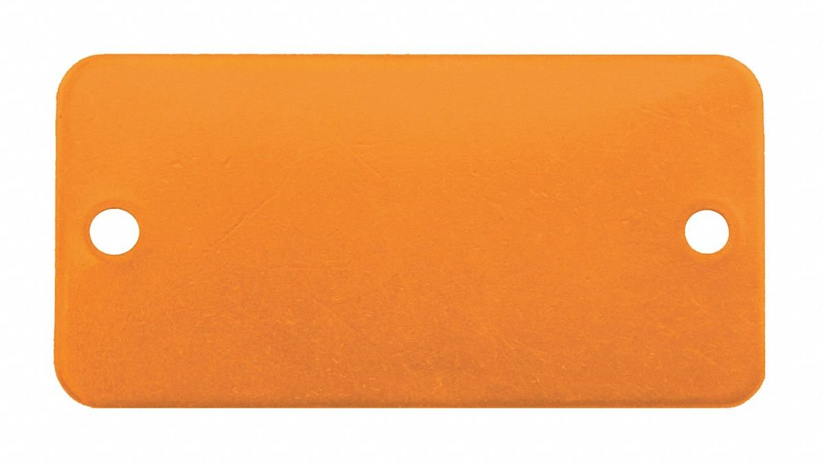 Orange Blank Tag, Aluminum, Rectangle, 3/4'' Height, 5 PK