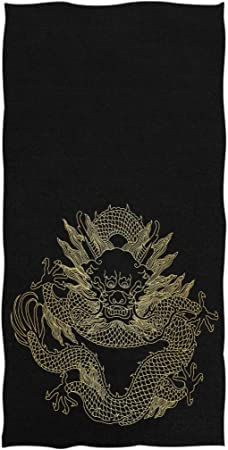 Naanle Stylish Roaring Dinosaur Head Print Soft Large Hand Towels for Bathroom Gym and Kitchen 16 x 30 Inches,Black Hotel