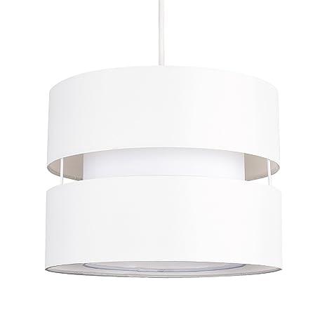 MiniSun - Moderna pantalla para lámpara de techo colgante Sophia - Cilíndrica a dos niveles con acabado en crema