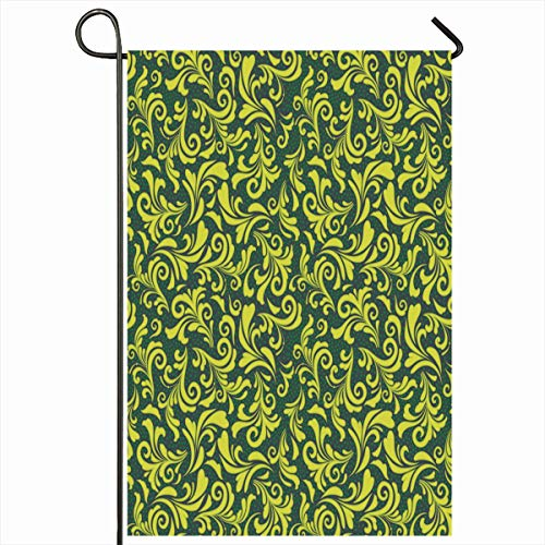 Ahawoso Outdoor Garden Flag 12x18 Inches Floral Modern Pattern Green Abstract Thai Shape Baroque Botany Classic Classical Color Design Curve Two Sides Seasonal Home Decor House Yard Sign Banner ()