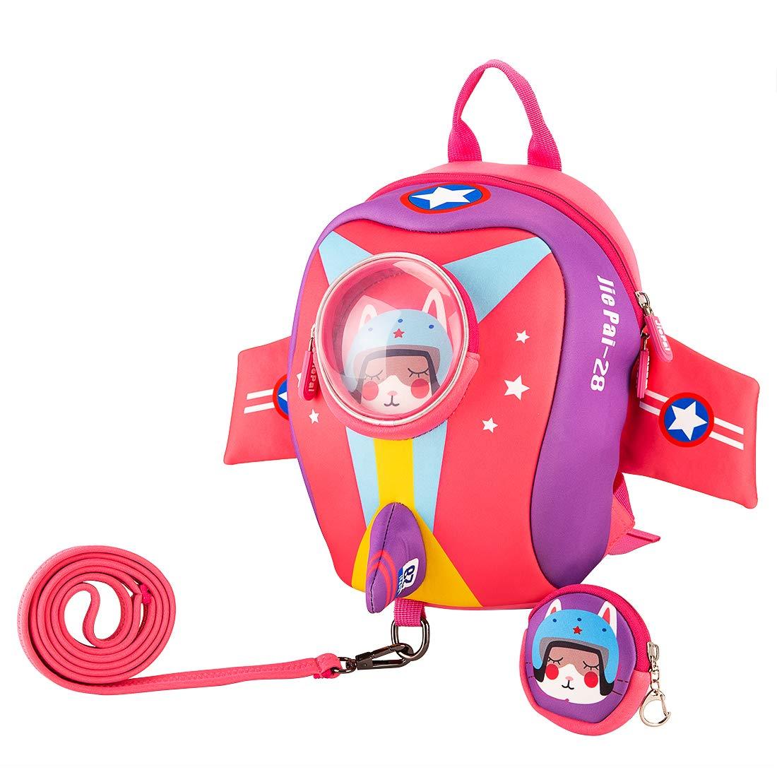 JiePai Toddler Kids Backpack with Safety Harness Leash, Waterproof 3D Cartoon Boys/Girls Backpack Lightweight Cute Animal Backpack for Travel/Nursery/Kindergarten/Preschool, Age 1-3 Dinosaur Backpack