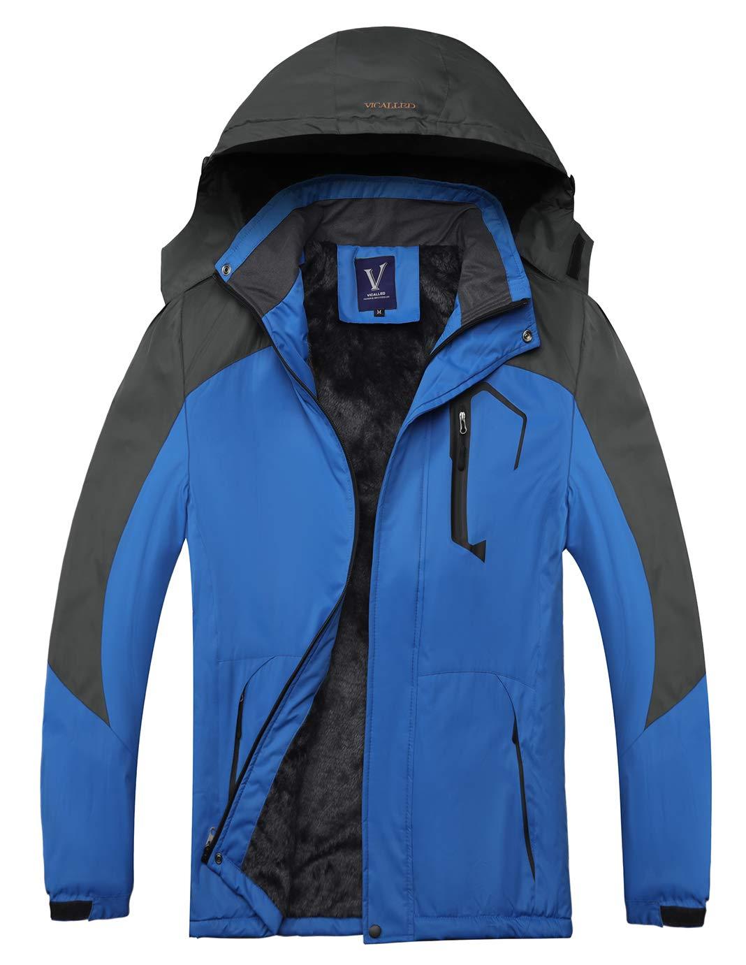 VANDIMI Mens Mountain Snow Waterproof Ski Jacket Windproof Fleece Parka Rain Jacket Winter Coat