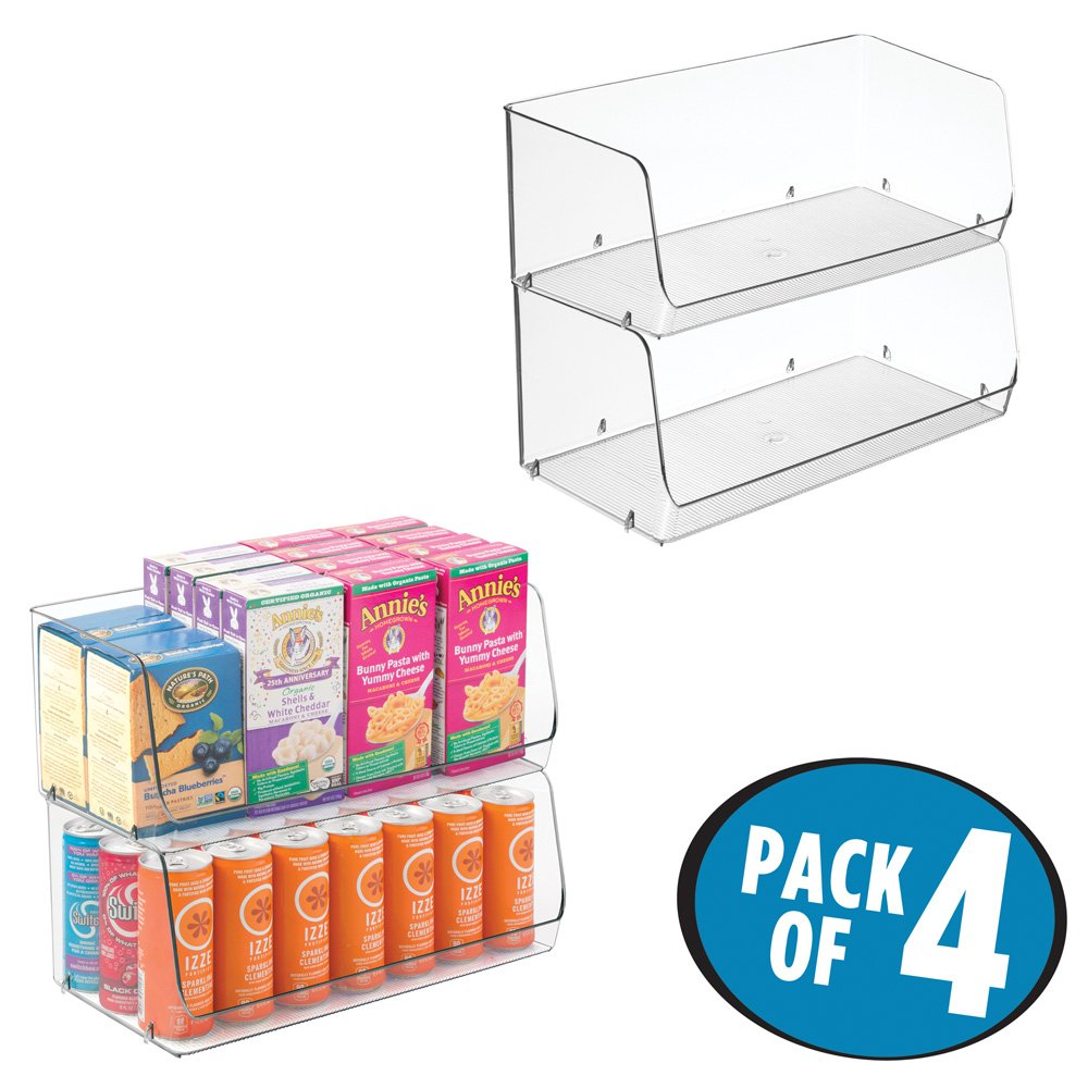 mDesign Kitchen Storage Organizer Bins for Refrigerator, Pantry, Cabinet - Pack of 4, Wide Large, Clear