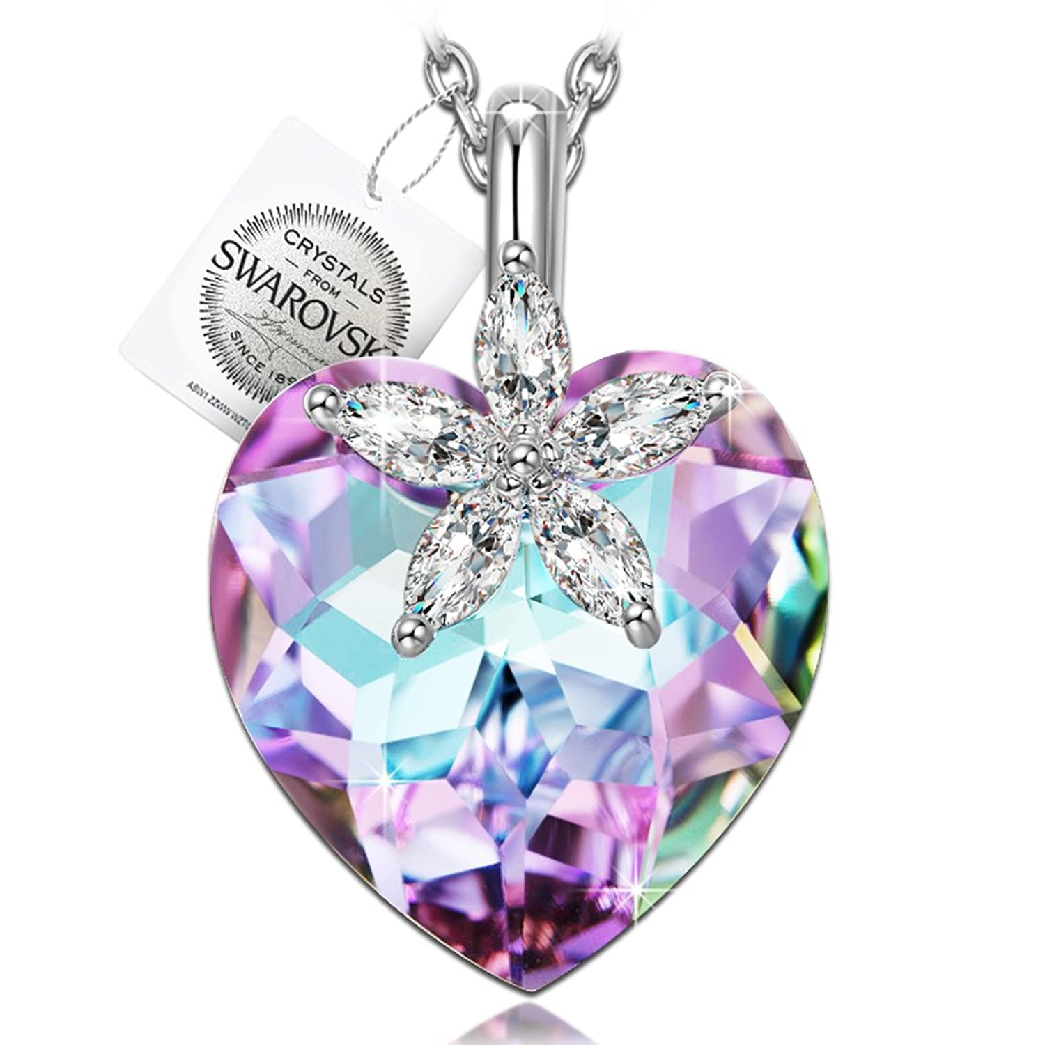 """♥Mothers Day Gifts for Women♥ NINASUN """"Bauhinia Blossom"""" 925 Sterling Silver Flower Design Heart Pendant Necklace Fine Jewelry for Women, Crystals from Swarovski"""