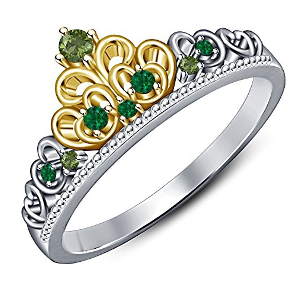 Gold /& Diamonds Jewellery Lovely Round Cut Multi-Stone 14K White /& Yellow Gold Plated 925 Sterling Silver Tiana Princess Heart Shape Crown Engagement Ring