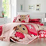 Sport do Home Textile Japanese Anime One Piece Cartoon Bedding Set,Cute Pink Chopper Design Quilt Cover Set,Girly Bed Set,Full,4-Piece