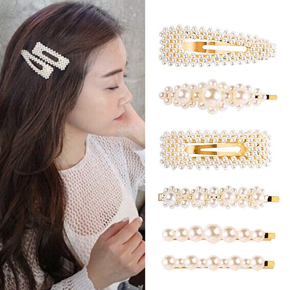 BigOtters Pearls Hair Clips, 9pcs Hairpins Headwear Barrette Hair Ties for Birthday Valentines Day Gifts Bling Styling Tools Accessories for Women Girls