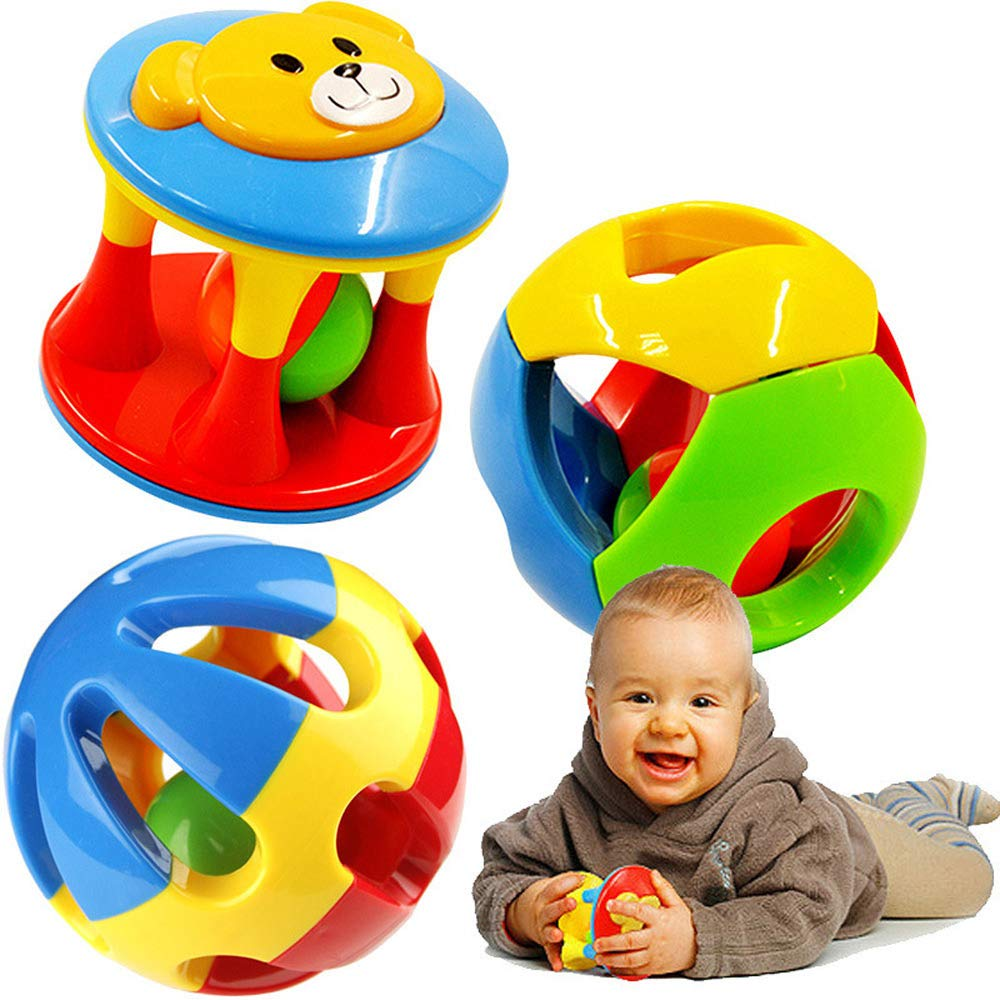 FOREAST Baby Toy 3 Pcs Rattle Toys Colourful Shaking Bell Developmental Rolling Balls Newborn Handbells Infant Gift