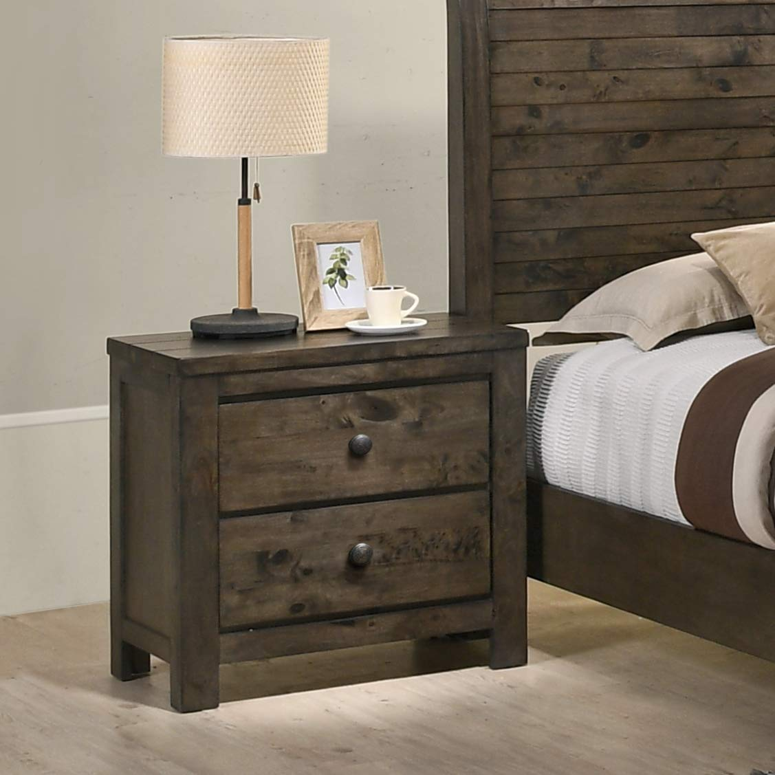 Roundhill Furniture Pavita Weathered Distressed Night Stand, Espresso by Roundhill Furniture