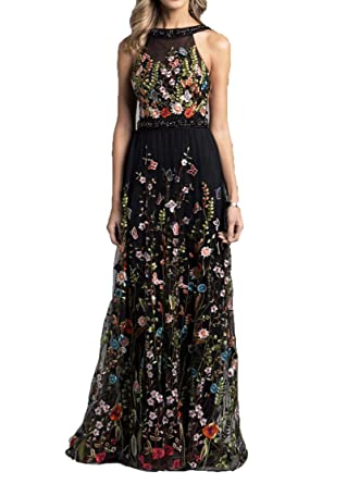 WDH Dress Womens Embroidery Black evening Dress Backless Prom Dress 28