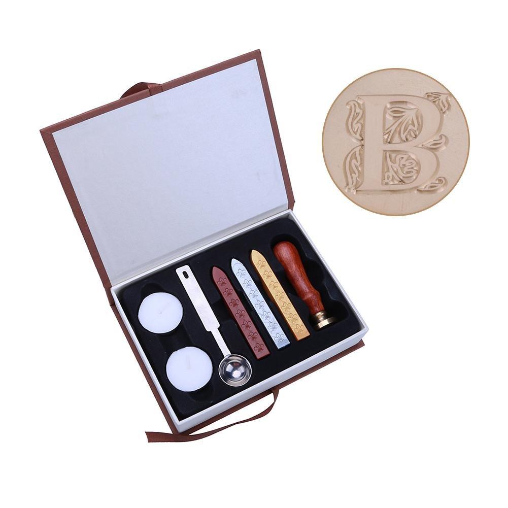 a Umschl/äge 5 Bl/ütenbl/ätter Dekoration f/ür Einladungen Metallstempel /& Siegelst/äbe /& Wachsschmelzl/öffel mit Aufbewahrungsbox vanpower Siegelstempel-Set 9cm//3.54in englisches Alphabet