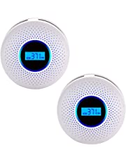 Smoke & Carbon Monoxide Gas Detection 2 in 1,CO Detector Alarm LCD Portable Security Gas CO Monitor,Alarm Clock Warning and Digital Display (2 Packs)