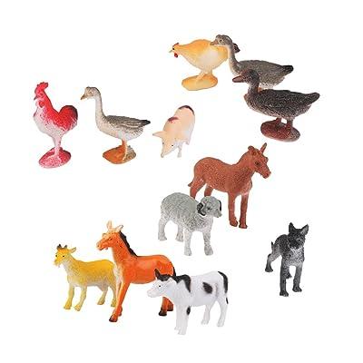 12pcs Juguetes Modelo de Animales de Plástico Juguetes Plásticos: Hogar