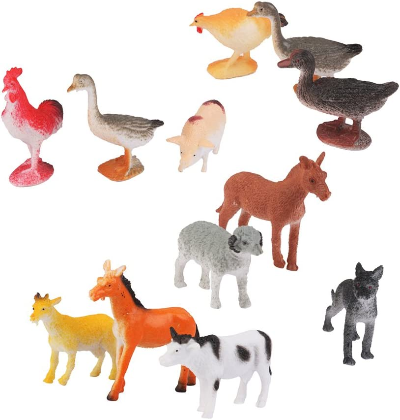 12pcs Juguetes Modelo de Animales de Plástico Juguetes Plásticos