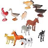 12pcs Capra Gatto Asino Maiale Pecore Cane Modello Animale Giocattolo Di Plastica Multicolore