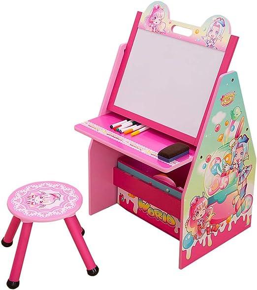 Juegos de mesas y sillas Mesa para Niños Mesa De Estudio Multifunción Conjunto De Mesa Y Silla De Madera 1 Mesa 1 Silla Niña Mesa De Juego De Pintura (Color : Pink,