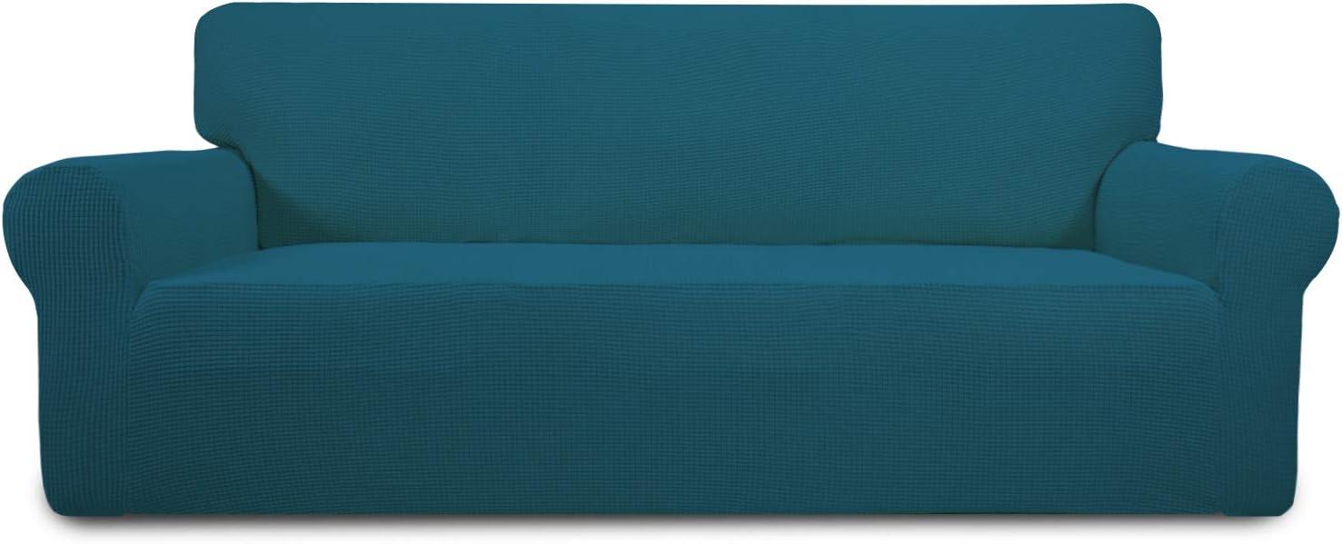 Easy-Going Stretch Sofa Slipcover 1-Piece Sofa Cover Furniture Protector Couch Soft with Elastic Bottom Anti-Slip Foam Kids, Spandex Jacquard Fabric Small Checks(Sofa,Peacock Blue)