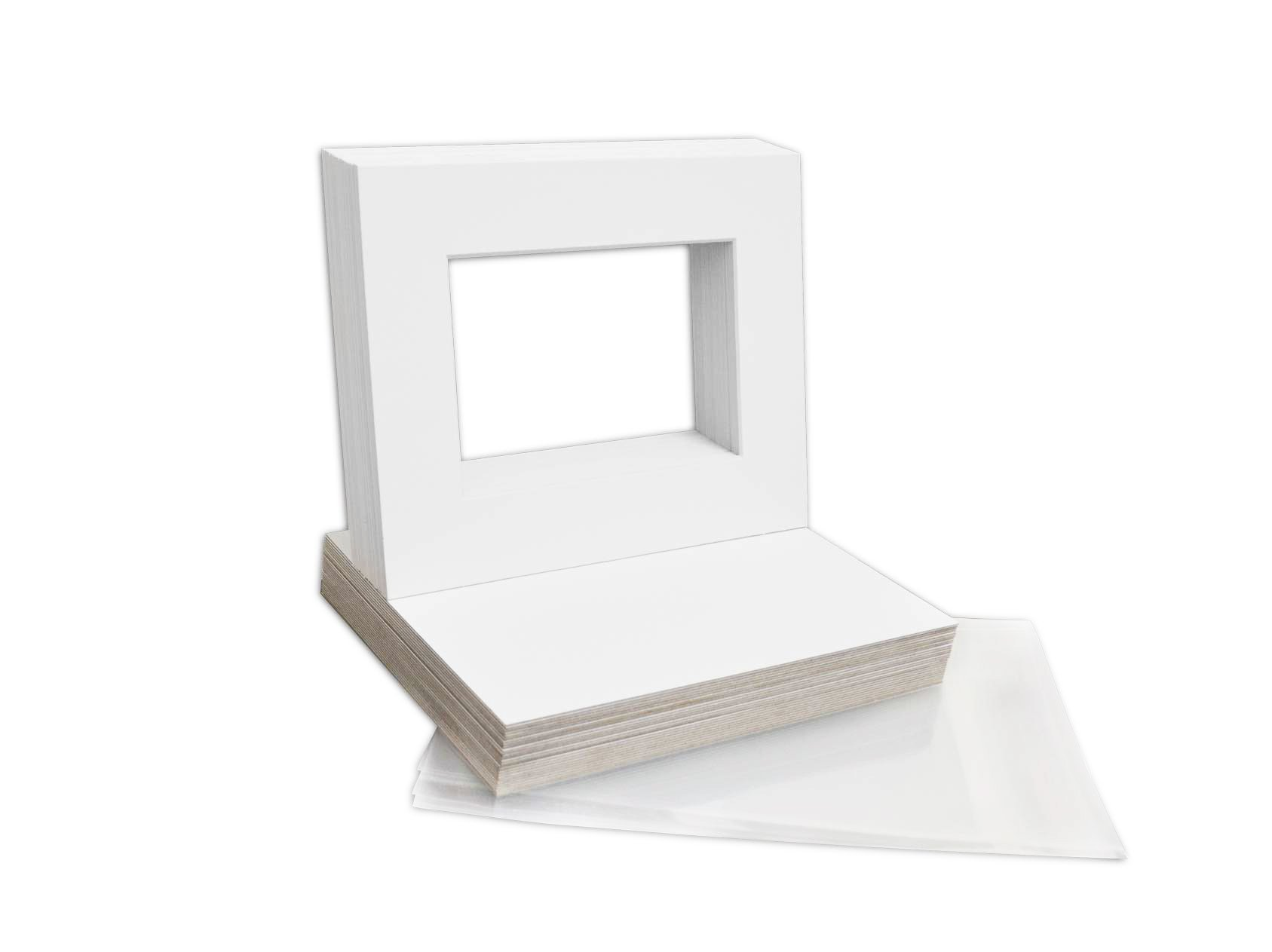 Mat Board Center, 8x10 Picture Mat Sets for 5x7 Photo. Includes a Pack of 50 White Core Bevel Pre-Cut White Core Matte & 50 Backing Board & 50 Clear Bags (White)