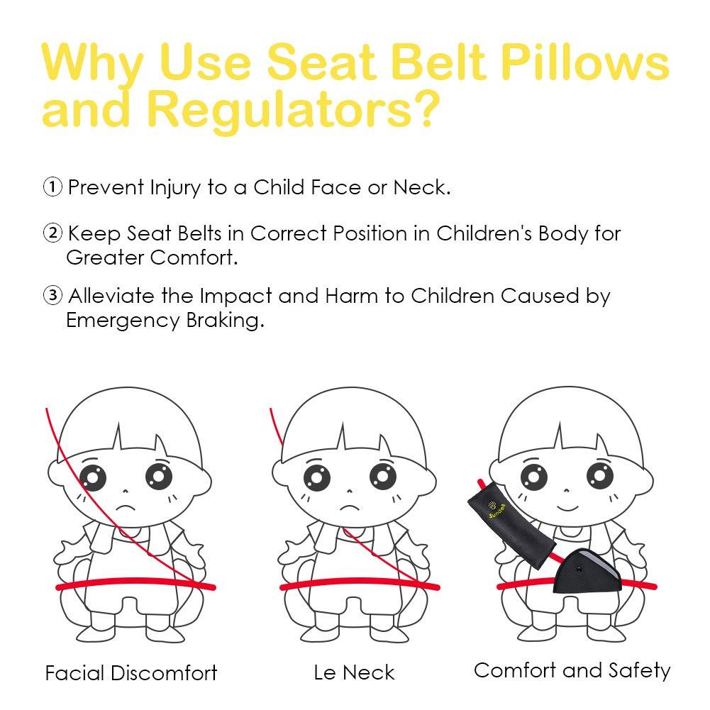 2pcs Bujingyun Universal Car Safety Belt Protect Adjust Vehicle Seat Belt Cushion For Kids and Adult Shoulder Pad