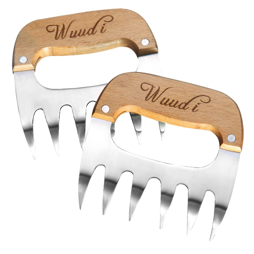 Pulled Pork Shredder Claws, Wuudi 18/8 Stainless Steel Meat Claws BBQ Meat Handler Forks for Shredding Handling & Carving Food ( BPA Free )
