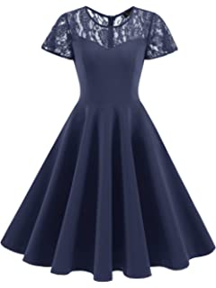 IVNIS Womens Vintage 1950s Short Sleeve A-Line Cocktail Party Swing Dress with Floral Lace