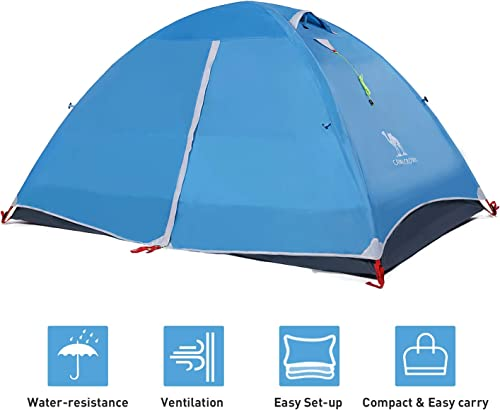 CAMEL CROWN 2-3 Person Tent Camping Dome Tent Outdoor Lightweight Water Resistant Hiking Travel Beach Backpacking Tent