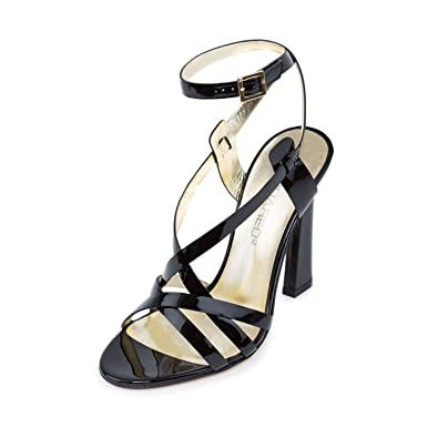 5e8be7451f DSQUARED2 Women Black Patent Leather Ankle Strap High Heels Sandals Shoes  US 8 EU 38
