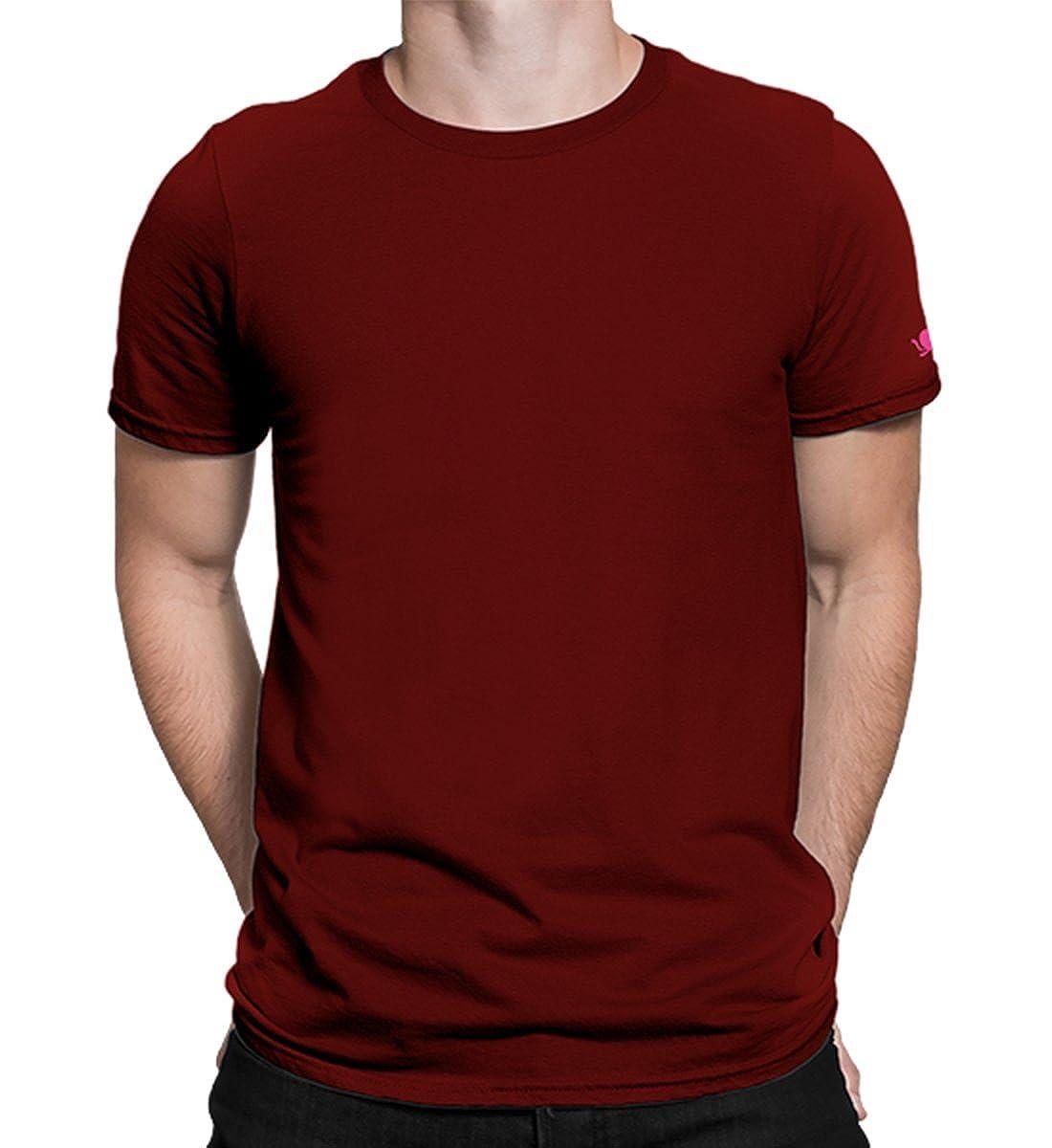 PrintOctopus Men and Women's Cotton Plain T Shirt (Maroon, 2XL)