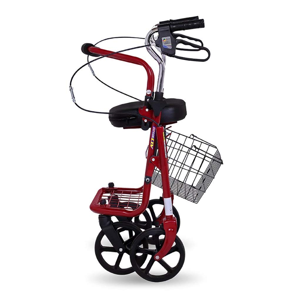 Folding Four-Wheeled Walker Adjustable Height with Seat and Basket for The Elderly Shopping Aluminum Walking Frame Pedal Walker Trolley Auxiliary Walking Safety Walker by YL WALKER (Image #3)