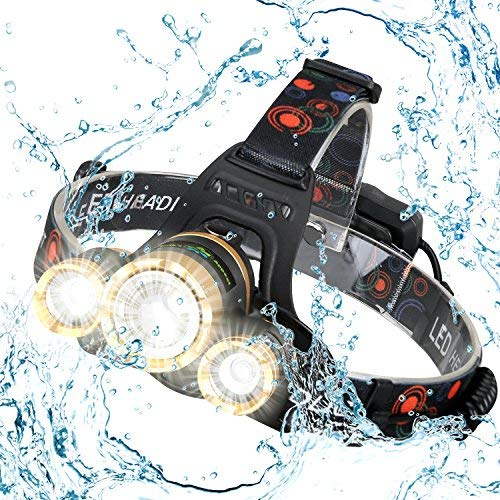 Earth's Appeal USB Rechargeable LED Headlamp - zoomable bright lumens - 1000, 2000 focus to 3000 lumens; outdoor caving, camping, fishing, frogging, running, hiking, fits a hard hat; 7 year warranty - Helmet Ea Chargers