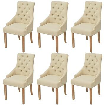 Furnituredeals Chaises De Salle Manger 6 Pcs En Bois De Oak Tissu