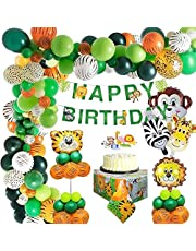 Jungle Birthday Party Decoration Boys-Happy Birthday Banner with Palm Leaves Latex Balloons and Safari Forest Animal for Boy Birthday Baby Shower Hawaiian Decor(65pcs)