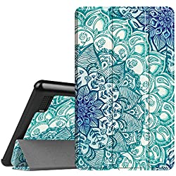 Fintie Slim Case for All-New Amazon Fire 7 Tablet (7th Generation, 2017 Release), Ultra Lightweight Slim Shell Standing Cover with Auto Wake / Sleep, Emerald Illusions