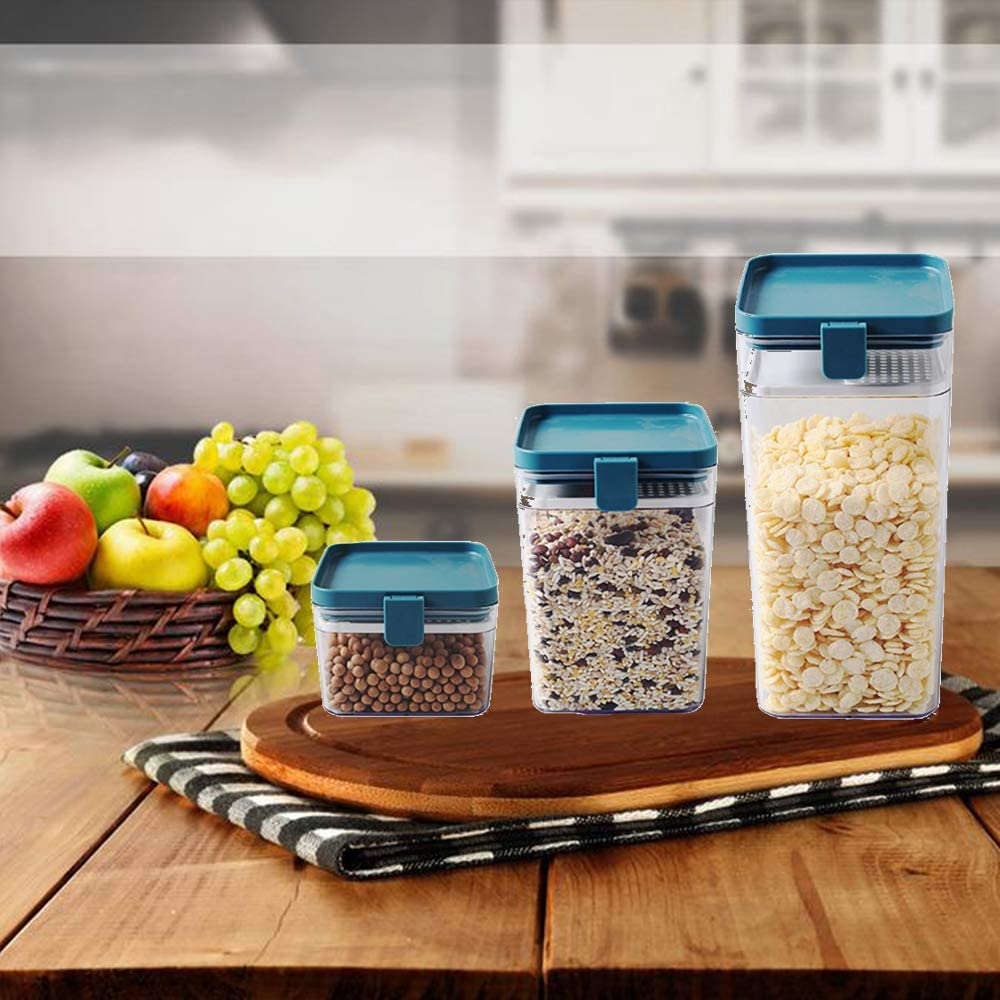 WJHWSX 3pcs Essentials Food Storage/Airtight containers Buckle Transparent Multigrain Sealed Plastic Moisture-Proof Square Can… (Blue)