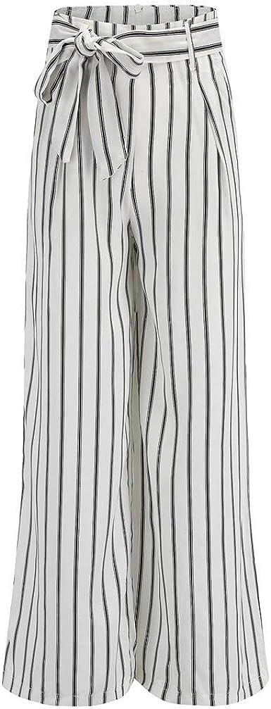 Paolian Pantalones Para Mujer Pantalones Para Mujer Anchos Primavera Invierno Cintura Alta Rectos Verano Rayas Elegantes Pantalones Mujer Vestir Fiesta Con Cinturon Amazon Es Ropa Y Accesorios