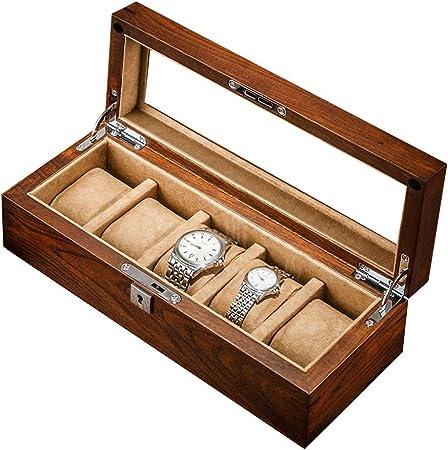Cajas para Relojes de Madera con 5 Compartimentos Estuche para Relojes y Joyeros Joyas Soporte de Exhibición Organizador Accesorios para Hombre Mujer: Amazon.es: Hogar