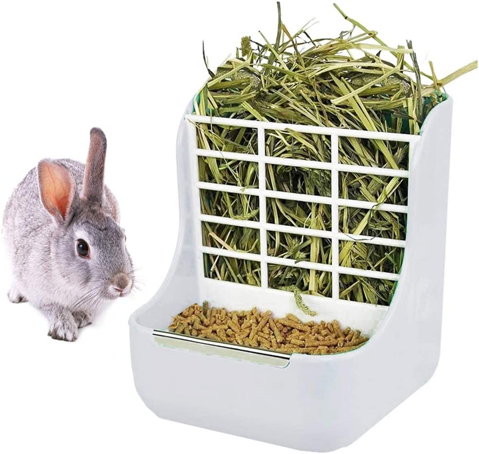 Rabbit Feeder Bunny Guinea Pig Hay Feeder, Hay Food Bin Feeder, Hay and Food Feeder Bowls Manger Rack for Rabbit Guinea Pig Chinchilla and Other Small Animals (White)