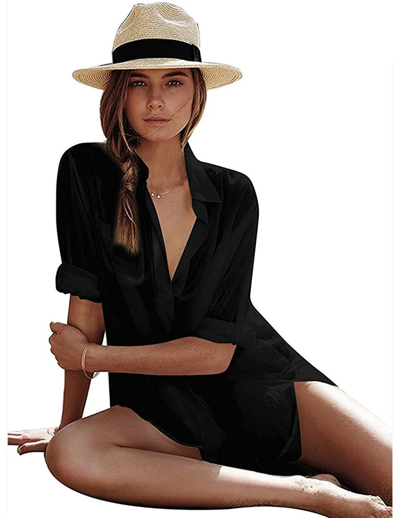 Women's Sexy Cotton V-Neck Summer Beachwear Solid Swimsuit Cover up Dress L Black
